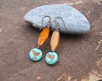 Bead Dangle Earrings, Czech Glass Earrings, Boho Earrings, Southwest Earrings, Hippie Earrings, Bird Earrings, Boho Jewelry,