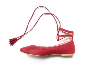 RED BALLET FLATS  -  Faux Leather Shoes  - Mina Shoes Mexico - Style Name: NeoMerlina - Last Pairs