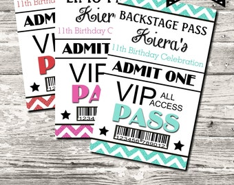 Backstage Red Carpet Limo VIP Pass Birthday Party 10 Color Choices Digital Printable