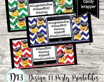 23 Colors Emoji Hashtag Chevron Graduation Candy Wrapper High School College Kindergarten Pre School Digital Printable