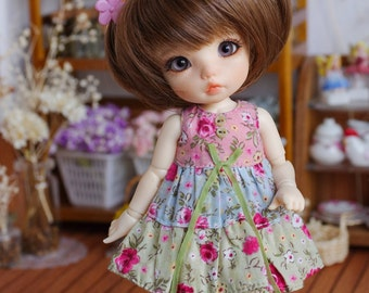 "Lati Yellow/ Puki Fee - ""Dreamy Blossom"" Patchwork Dress - PinkBlueGreen Color"