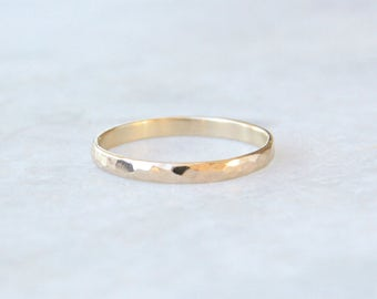 hammered gold wedding band // hammered rounded 14k gold wedding ring // eco friendly recycled gold // stackable gold ring // gift for her