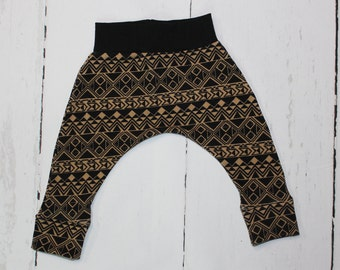 Black and Taupe Aztec Harem Pants, Aztec Print. Geometric, Triangles