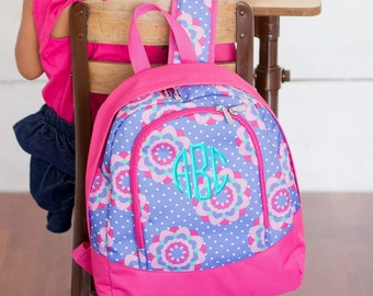 Monogrammed Preschool Backpack Zoey Flower Pink Purple Monogram Kids School