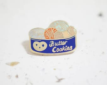 Knitting Butter Cookie Tin Enamel Pin // Hard Enamel - Enamel Pin - Pin - Lapel Pin - Flair - Brooch - Collar Pin - By Justine Gilbuena