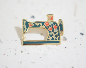 Dark Blue Sewing Machine Enamel Pin // Hard Enamel - Enamel Pin - Pin - Lapel Pin - Flair - Brooch - Collar Pin - By Justine Gilbuena