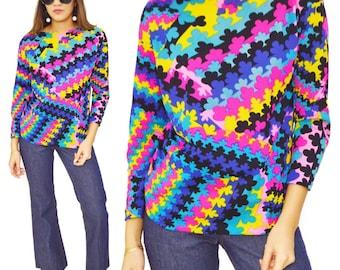 Vintage 70s Hippie Bohemian Multicolor Blouse Top
