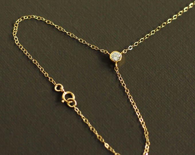 Gold Hand Chain Bracelet with Crystal- Gold Slave Bracelet - 14K Gold Fill