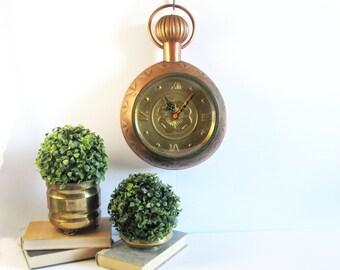 vintage copper clock working kienzle wall clock giant pocket watch hammered brass boat