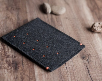 Kobo Aura HD , Kobo Mini, Glo, Touch, Arc case cover sleeve, dotted anthracite felt with colour accent