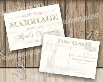 Wedding Postcard Vintage in Pink and Gold