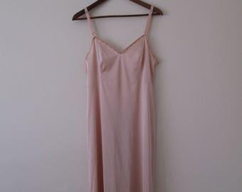 Vintage Champagne Pink Slip w/ Lacy Trim