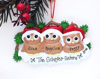 FREE SHIPPING 3 Owls Family Ornament / Personalized Christmas Ornament / Family of Three Owls in Santa Hats / Christmas Ornament