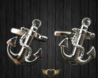 Anchor Cufflinks - Mens Cuff links with a free Gift Box - Navy Cufflinks - Sailor cufflinks - Nautical cufflink
