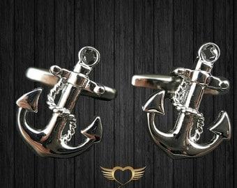 Anchor Cufflinks - Mens Cuff links with a free Gift Box - Navy Cufflinks - Sailor cufflinks - Nautical cufflink