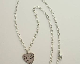 X's & O's Sterling Silver Artisan Heart Pendant Necklace