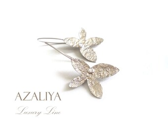 Orchid Chandeliers. Silver Orchids & Zircon. Silver Orchid Earrings. Azaliya Luxury Line. Wedding. Bridal earrings, Bridesmaids Gift.