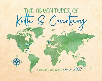 Love Adventures Map, Custom Names over World Map, Wedding Gift for Couple who Travels, Traveling the Globe, Blue, Green Map | WF550