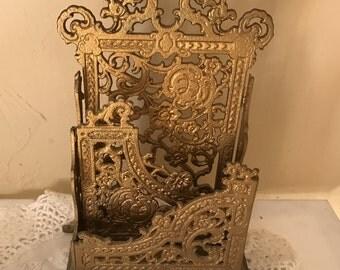 Victorian Brass Letter Napkin Holder or Mail Holder Pretty Ornate Design- Art Nouveau