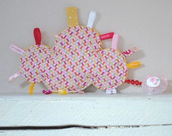 Doudou labels cloud patterns painted fuchsia, mustard, beige, light pink, red, and white - gift - baby 3-12 months