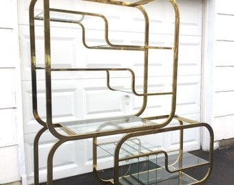 Mid-Century Glass and Brass Etagere by Milo Baughman for DIA