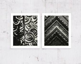 Art Nouveau Photography Black and White Geometric Fine Art Photography Set of 2 Monochrome Fine Prints Modern Wall Art Living Home Art Decor