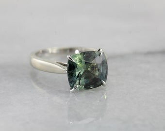 Rare Green Sapphire Solitaire Ring, Over Five Carat Gemstone 6781YM-P