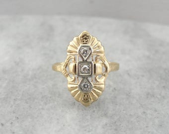 1930's Single Cut Diamond Dinner Ring in Yellow Gold 3P7CNQ-N