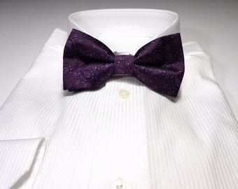 Bow Tie in PLUM eggplant Purple Paisleys Floral