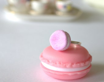 Pink miniature macaron ring, miniature food ring, 925 silver ring, mini food kawaii jewelry
