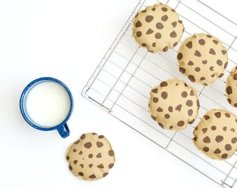Chocolate Chip Cookie Bean Bags - Set of 3, 4, 5, or 6 Washable Beanbags  - Kids Toss Game - Cookie and Milk Themed Birthday Party - Toy