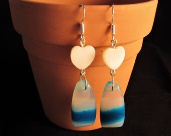 15 Ct Sky Blue Agate Earrings - Wicked Willow Grove Jewelry Collection - Mother-Of-Pearl Heart Earrings