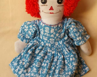 "Hand Made Raggedy Ann ~ Doll ~ Hand Made Amish Print Dress ~ Embroidered Face ~ Button Eyes ~ 14"" Doll ~ Needs Repair ~ Penny Lane Treasures"