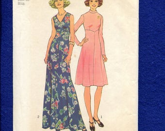 1970's Simplicity 7150 Slimming Flared Evening or Street Length Dress Size 16 UNCUT