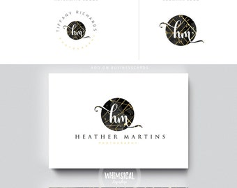 golden initlas 1  brush gold initials businesscards  simple modern feminine branding- logo Identity artist makeup wedding photographer
