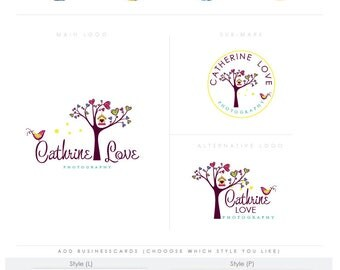 whimsical hearts tree bird - Premade Photography Logo and Watermark, Classic Elegant Script Font full colorful children photography branding