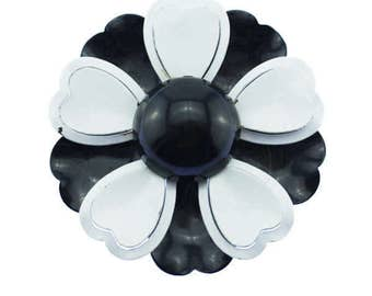 Vintage Enamel Flower Brooch, Black Enamel Flower Brooch, Black Enamel Flower Pin, Black and White Flower Brooch, Black Flower Pin