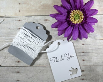 White Custom Tags Set of 20 - White Wedding Favor Tags - Dove Wedding Tags - Thank You Bridal Shower Labels - Love Birds Theme - Dove Themed