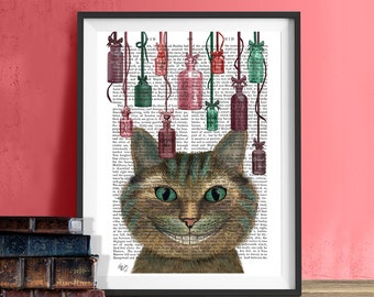 Cheshire Cat and Drink Me Bottles - Alice in Wonderland Art cheshire cat poster cheshire cat gift cheshire cat print cheshire cat art decor