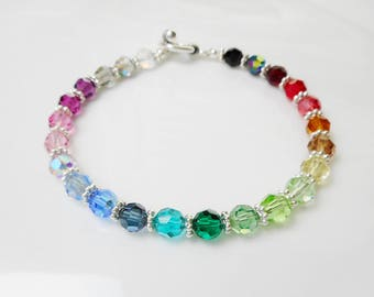 Swarovski Crystal Spectrum Multi-Color Beaded Bracelet - Gorgeous!