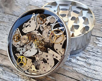 Steampunk Metal Herb Grinder - Steampunk Watch Spice Crusher - mint grinder-
