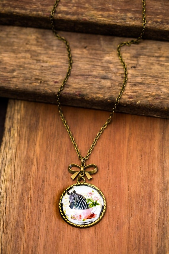 FREE SHIPPING - **NEW** Zebra In A Teacup 30mm Bronze Lace & Bow Pendant Necklace - Unique - Vintage - Gorgeous Gift - Love