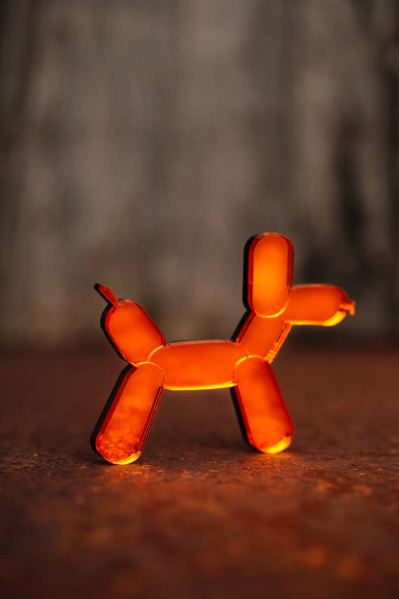 NEW Orange Balloon Dog Necklace or Brooch - Mirror Acrylic