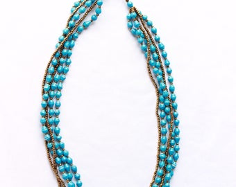Teal African multi-strand beaded necklace