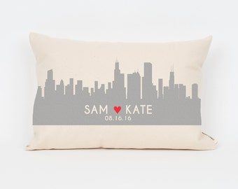 Custom City Skyline Pillow, Valentines Gift,  Wedding Date Pillow, City Skyline Art, Custom Wedding Gift, Couple Pillowcase, Engagement Gift