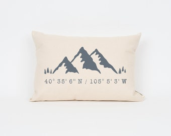 Mountain Coordinates Personalized Pillow, gps Coordinates, Custom Map Pillow, Rustic Home Decor, Travel Gift, Wanderlust, Gift for Him