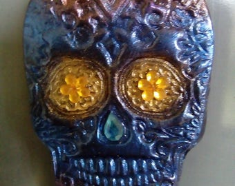Sugar skull polymer clay fridge magnet, mixed media, blue, red, purple, gold