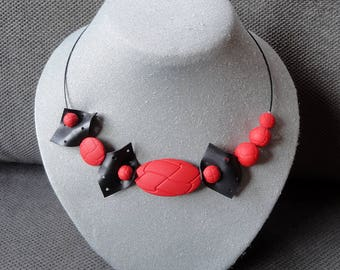 Necklace with red beads