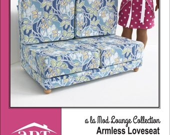 Pixie Faire AptOne8 a la Mod Lounge Collection: Armless Loveseat PVC Pattern for 18 inch American Girl Dolls - PDF
