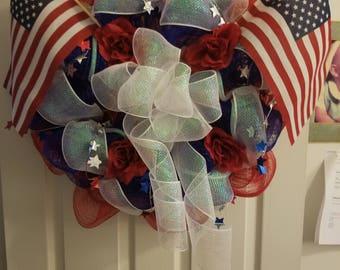 Patriotic American Wreath, July 4th wreath, Memorial Day Wreath